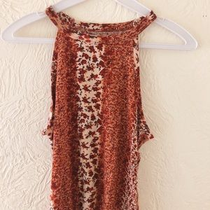 burnt orange floral tank